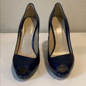 Karen millen navy patent peep toe heels NWT